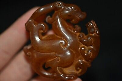 Chinese old jade Hongshan culture carved amulet pendant S107