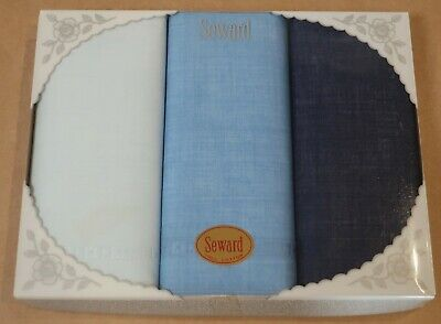 Three 100% Cotton Seward Ladies Handkerchiefs New In Box