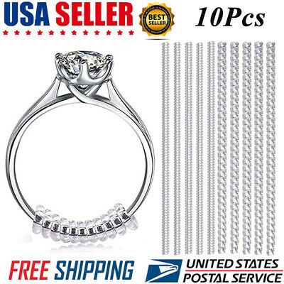 10Pcs Ring Resizer Jewelry Size Reducer Clear Spacer Guard Adjuster Invisible US