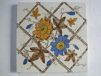 ANTIQUE VICTORIAN PRINT AND TINT FLORAL WALL TILE PATTERN No.302 - CORN BROS?
