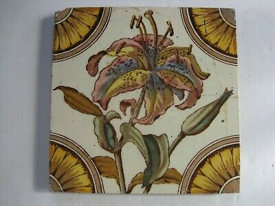 Antique Victorian Print And Tint Floral Tile - Lily - Corn Bros C1898-1904