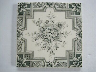 "Antique Victorian 6"" Green Aesthetic Floral Transfer Print Tile - T & R Boote?"