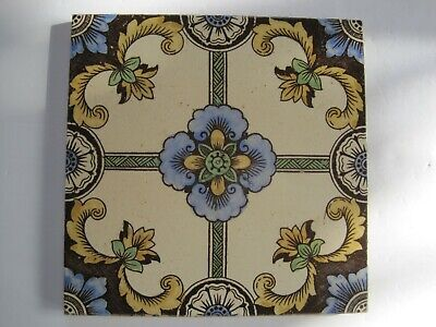 ANTIQUE VICTORIAN PRINT AND TINT AESTHETIC FLORAL WALL TILE No.49