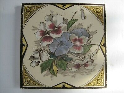 Antique Victorian Print And Tint Flora Tile - Pansies - Marsden Tile Co? C1880