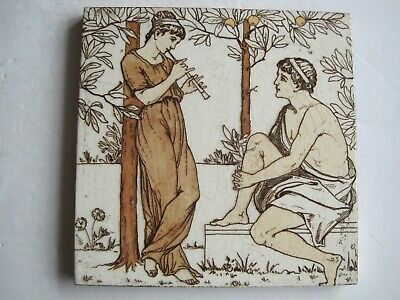 "Antique 6"" Wedgwood Classical Musicians In An Orange Grove Tile #1 Thomas Allen"