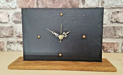 Modern Unique Grey Slate Mantle Clock With Solid Oak Wood Base Handcrafted