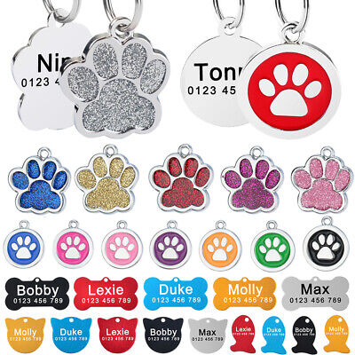 Personalised Dog Tag Engraved Kitten Cat ID Tag Puppy Pet Name Tags Paw Bone