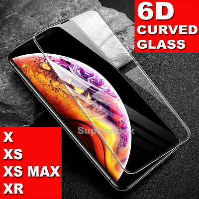 For iPhone XR XS Max X Screen Protector 6D FULL CURVED GORILLA 9H TEMPERED GLASS