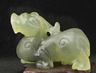Chinese old natural jade hand-carved statue dragon pendant 2.5 inch