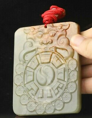 Chinese old natural hetian jade hand-carved statue dragon pendant 3.7 inch