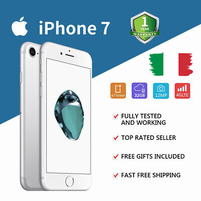Nuovo Apple iPhone 7 32GB Argento Silver IT Seller