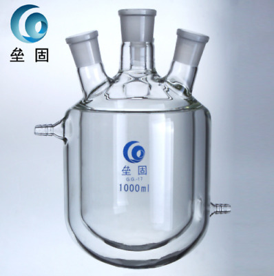 4-Necks Glass Jacketed Flask Reactor Vessel Double Layer 1000ml