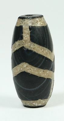 Antique Ancient Hand Carved Banded Agate Suleimani-Bhaisajyaguru Bead Tibet
