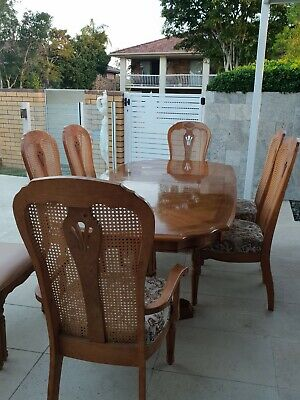 French Provincial Solid Timber Lattice Back Dining Chairs(6) including 2 carvers