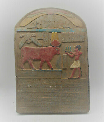 Scarce Circa 1000Bce Ancient Egyptian Stone Wall Panel With Heiroglyphics