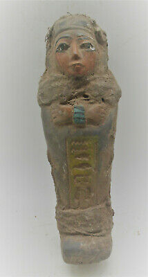 Circa 664-332Bce Ancient Egyptian Ushabti Shabti With Coptic Cloth Rare
