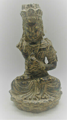 Circa 200-300Ad Ancient Gandharan Bronze Seated Buddha Statue Museum Quality