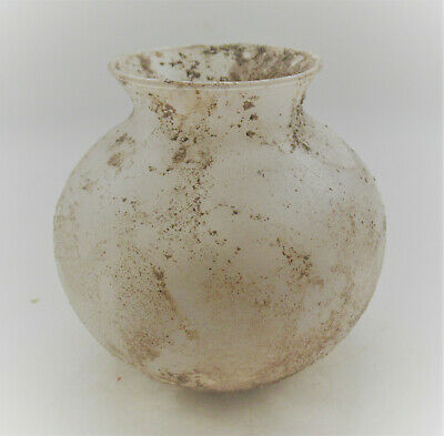 Scarce Circa 100-300Ad Roman Era Bulbous Iridescent Glass Vessel