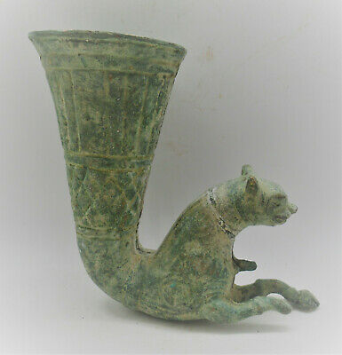 Scarce Ancient Persian Achaemenid Empire Bronze Rhyton With Beast Head 400Bc