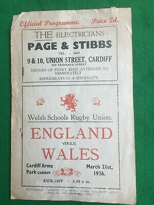 Rugby Union programme Cardiff Welsh schools England v Wales 21st March 1936