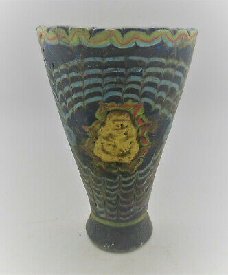 Scarce Ancient Phoenician Mosaic Glass Vessel With Gold Gilt Plate Attachments
