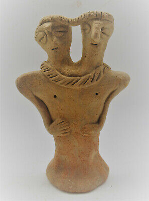 Circa 1180-700Bce Ancient Syro-Hittite Two Headed Terracotta Idol Rare