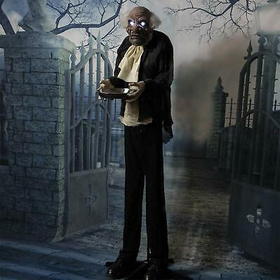 Haunted Hill Farm Life-Size Animated Moaning Butler Prop, Halloween Decoration