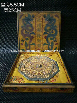 """7.5""""Collect Old China Qing Dynasty Lacquer Ware Wood Flower Bronze Mirror Statue"""