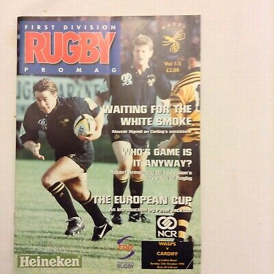 Rugby Programme  Wasps V Cardiff Heineken Cup 12th October 1996