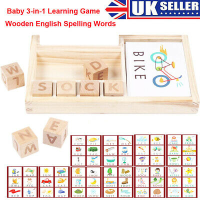 Baby Gift 3-in-1 Spelling Learning Game Wooden Spelling Words Enlightenment