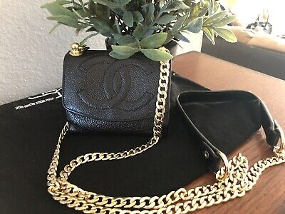 Authentic CHANEL CC Logo Wallet Mini Black Gold Chain Crossbody WOC Bag Timeless