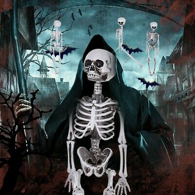 16 Inches Poseable Human Skeleton Halloween Decoration Horror Party Prop US