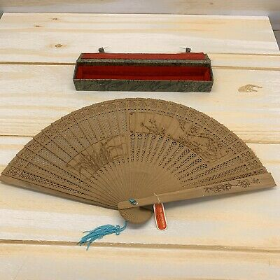 Chinese Bamboo Hand Fan Wooden Folding Hand Painted Floral Box B147