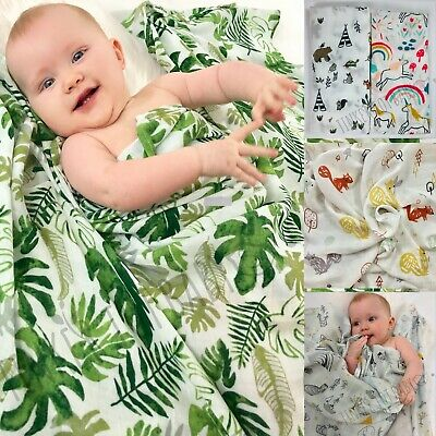 Large Baby Newborn Swaddle Boy Girl Bamboo Muslin Wrap Sleeping Bag Blanket AUS!