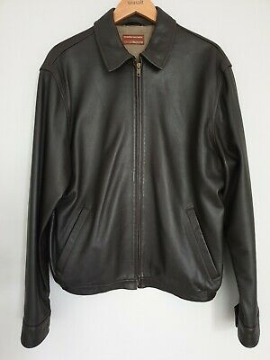 Marks and Spencer COLLEZIONE Mens Dark Brown Leather Harrington Bomber Jacket M