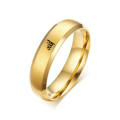 14K Gold Plated 6mm Polished Stainless Steel Wedding Band Ring Mens & Womens