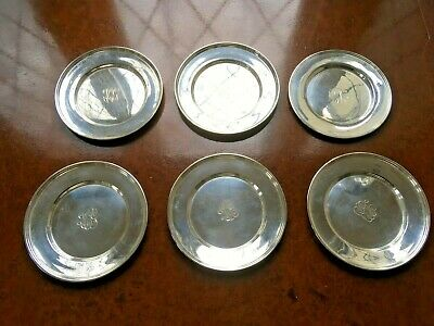Six Sterling Silver Hirsch Bread/Desert Plates Total 444 grams mono