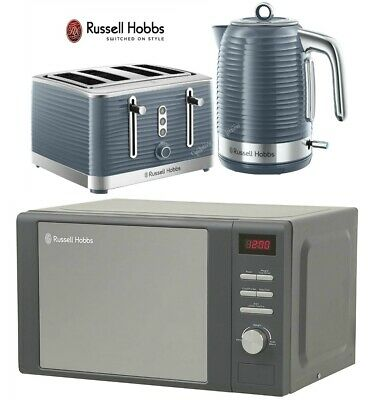 Grey Russell Hobbs Inspire Kettle and Toaster Set with Heritage Microwave - New