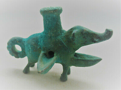 Scarce Ancient Luristan Bronze Tri-Pronged Oil Lamp In The Form Of An Elephant