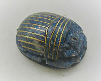 Beautiful Vintage Egyptian Compressed Lapis Lazuli And Gold Scarab Seal