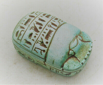 Scarce Ancient Egyptian Faience Scaraboid With Shabti & Scarab Inside