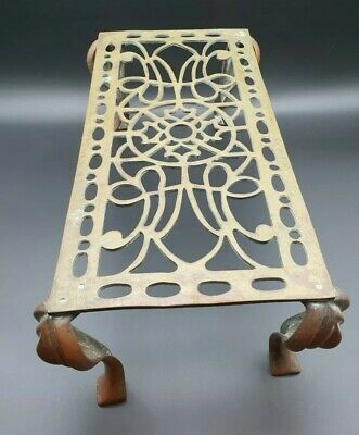 Antique Victorian Brass & Copper Large Rectangular Trivet Late 19th Century
