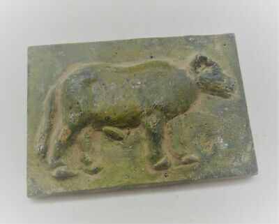 Very Rare Ancient Roman Bronze Panel Fragment Depiction Of Bull 200-300Ad