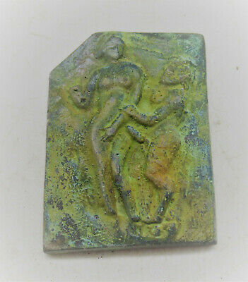 Very Rare Ancient Roman Bronze Panel Fragment Erotic Scene 200-300Ad
