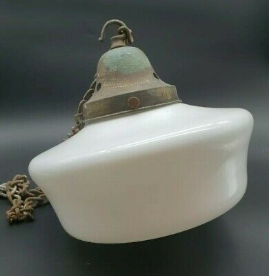 Antique Art Deco Opaline Glass Ceiling Light + Chain & Gallery 1920s