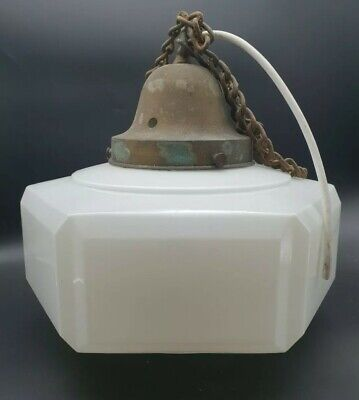 Antique Art Deco Opaline Glass Hexagonal Ceiling Light + Gallery & Chain #1