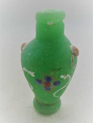 Circa 300Bce Ancient Phoenician Glass Bottle With Floral Motifs Rare