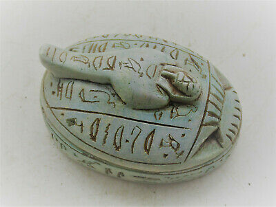 Beautiful Antique Egyptian Glazed Stone Scarab Sarcofigi Shabti On Top
