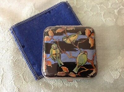 Vintage gwenda Butterfly Wing Powder Compact w/ Scenic Birds