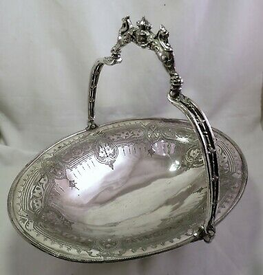 Large Victorian Silver Plated Cake / Fruit Basket - Dragon Handle - Ashberry